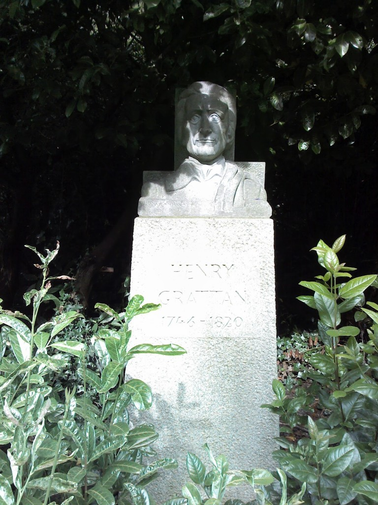 Henry Grattan, a bust at the park Merrion Square, Dublin, Ireland.