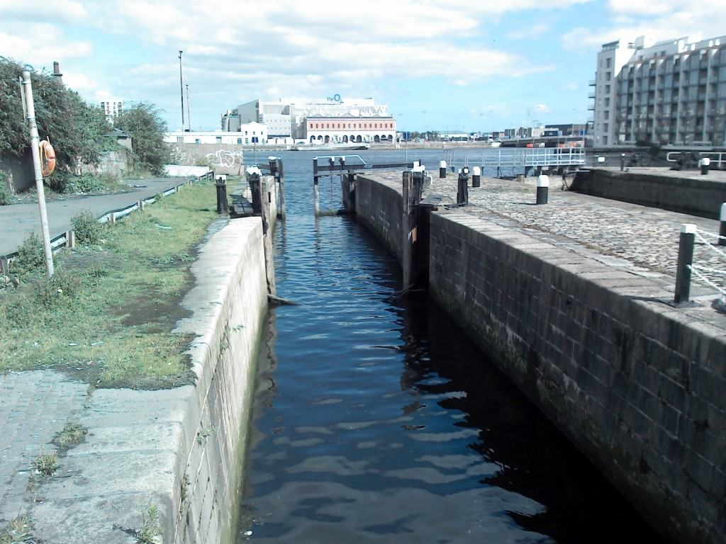 Connection to the river Liffey via gateways from the Grand Canal Docks, Dublin, Ireland.