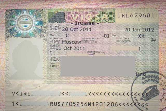 Copy of Irish student visa.