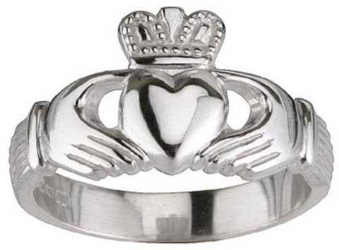Large 14K White Gold Sterling Silver Irish Claddagh Ring