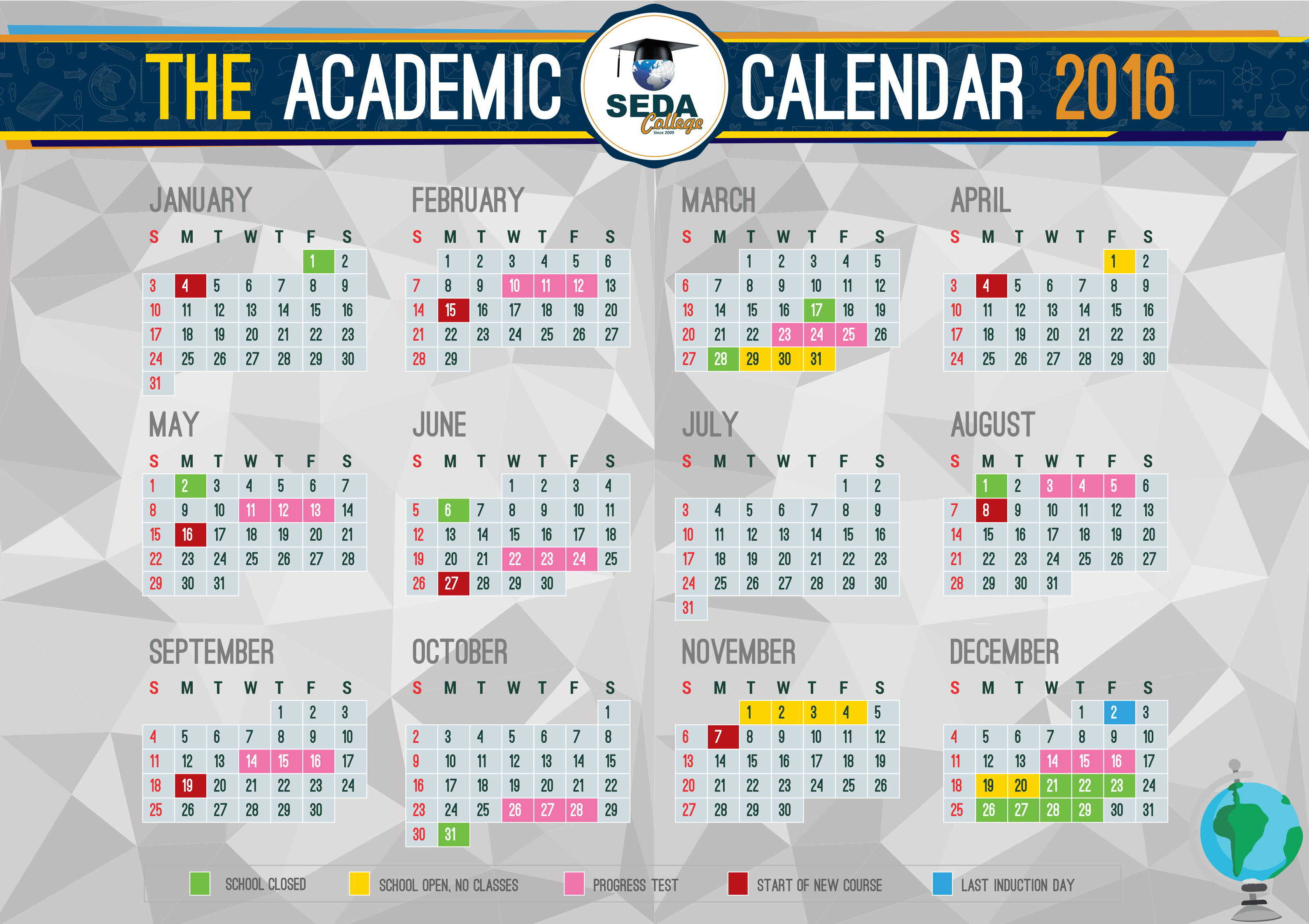 Academic Calendar of SEDA College for 2016 year