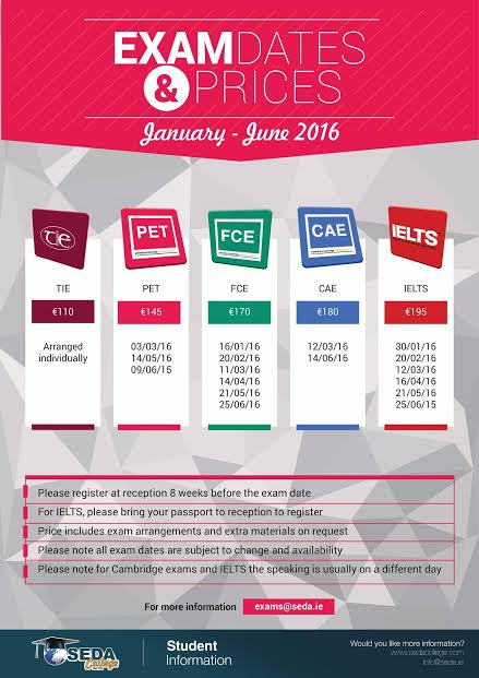 Exam Dates and Prices at SEDA College