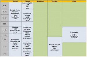 Example of timetable at Griffith College