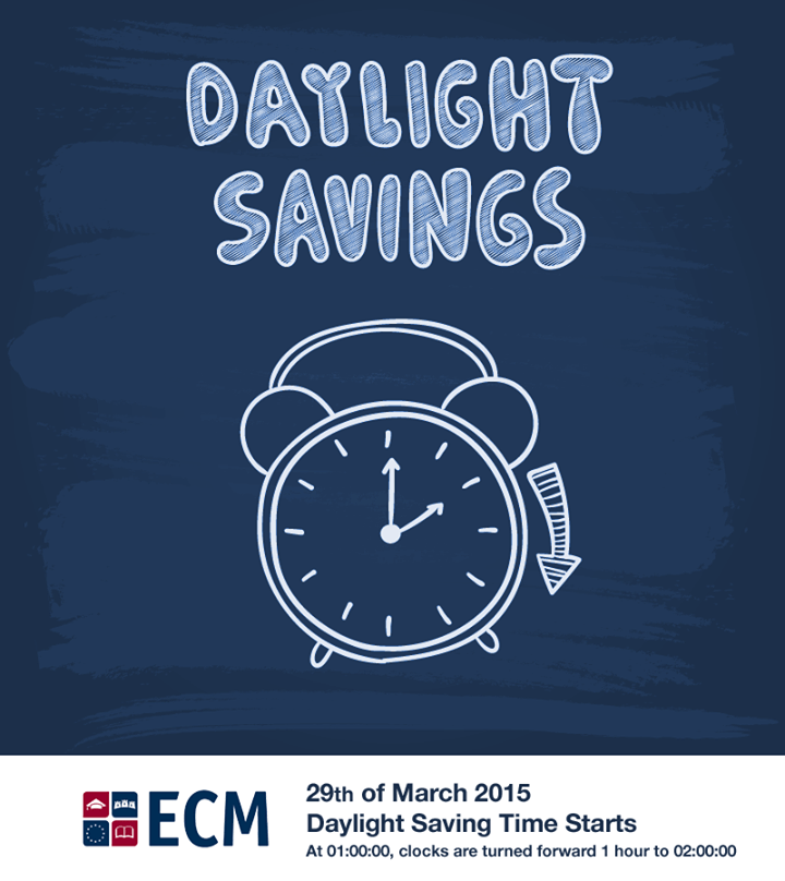 Ireland clocks are turned forward 1 hour on 29th of March 2015