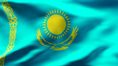The flag of Kazakhstan.