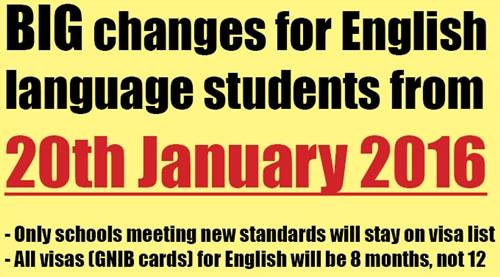 Changes for English language students from 20 January 2016