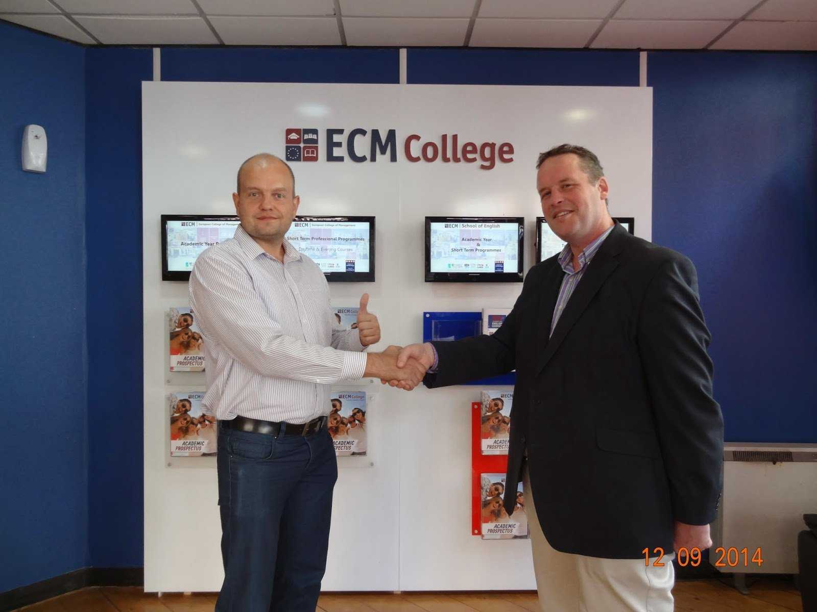 Oleksii Pieshkov at ECM College, Dublin, Ireland, with it's Director in 2014.