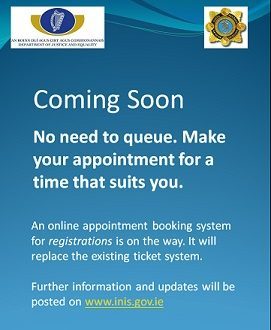 New online appointment system for immigration registration in Ireland.