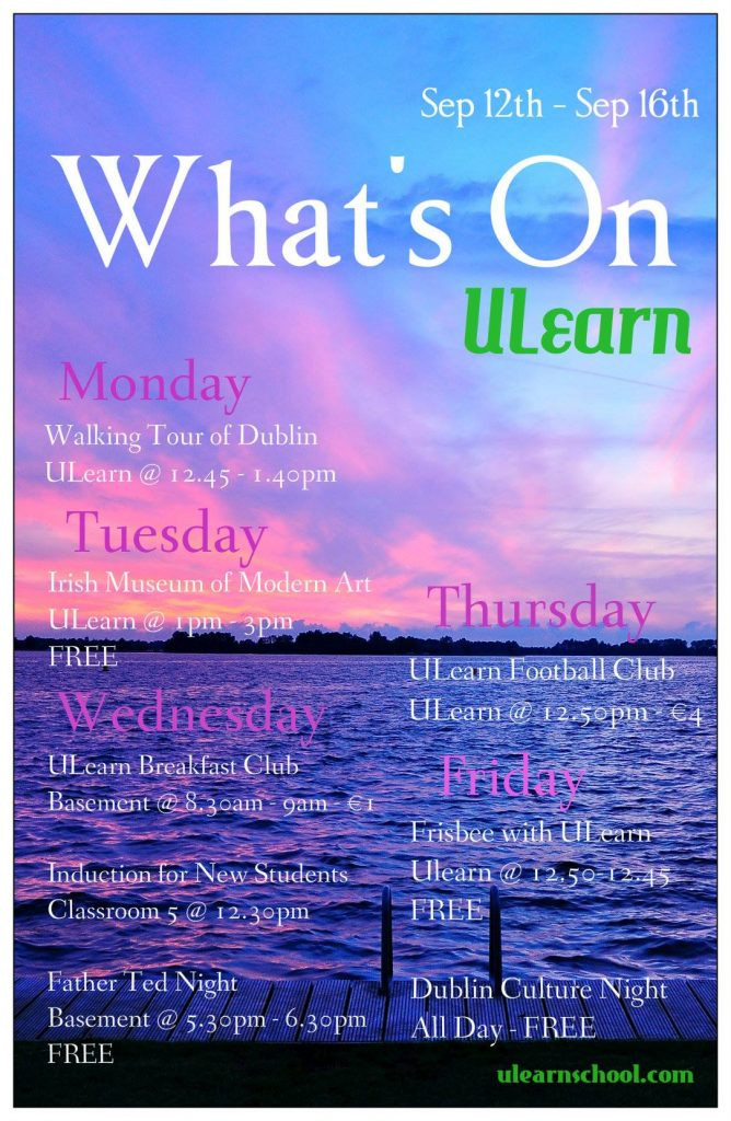 Ulearn Whats On Students Activity 12-16 of September 2016