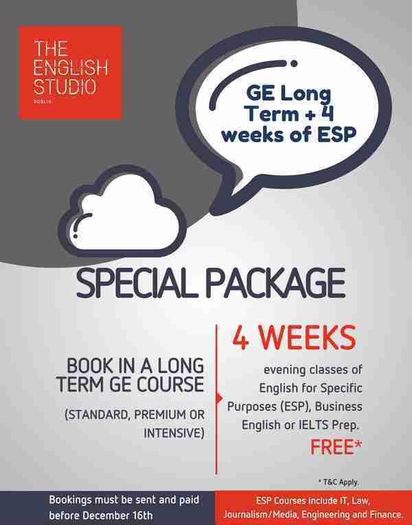 Special offer of English Studio Dublin - ECM College + 4 weeks of ESP